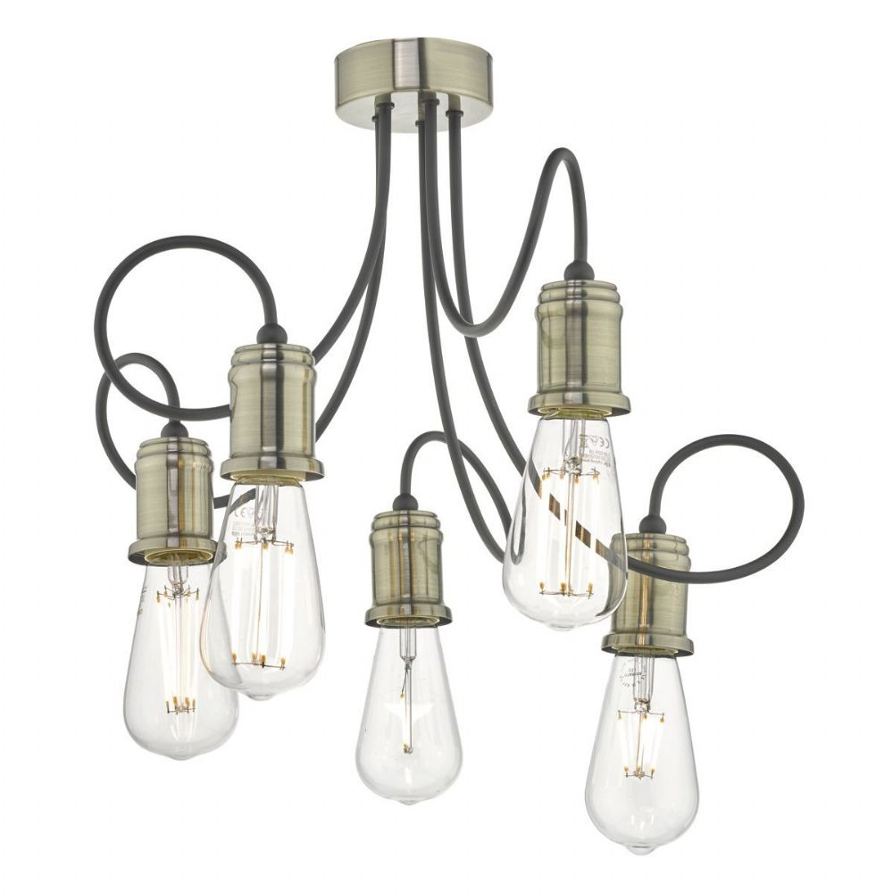 Alzbet 5lt Semi Flush Antique Brass & Black (double insulated) BXALZ5475-17